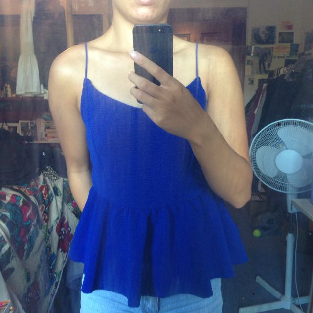 Temt Electric Blue Peplum Top Size S