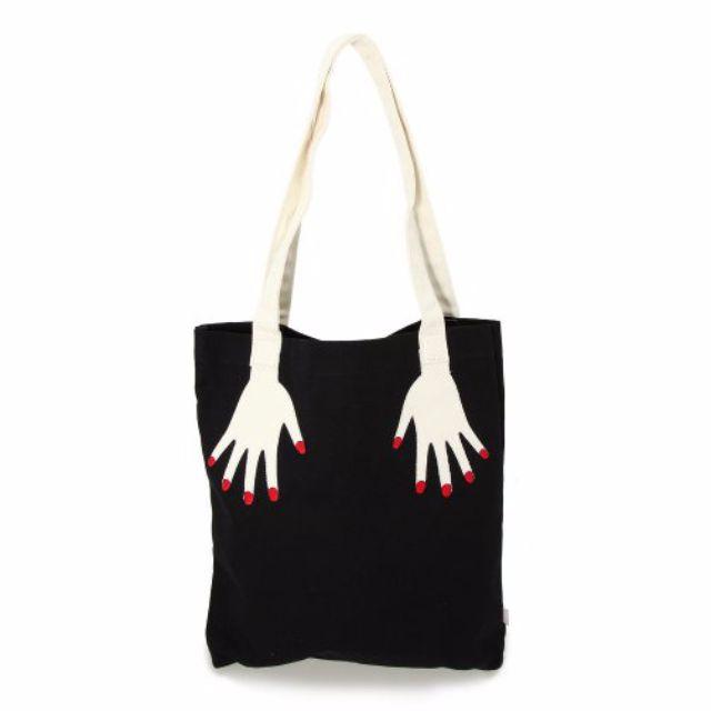 韓國ulzzang原宿手指刺繡帆布包(3色)