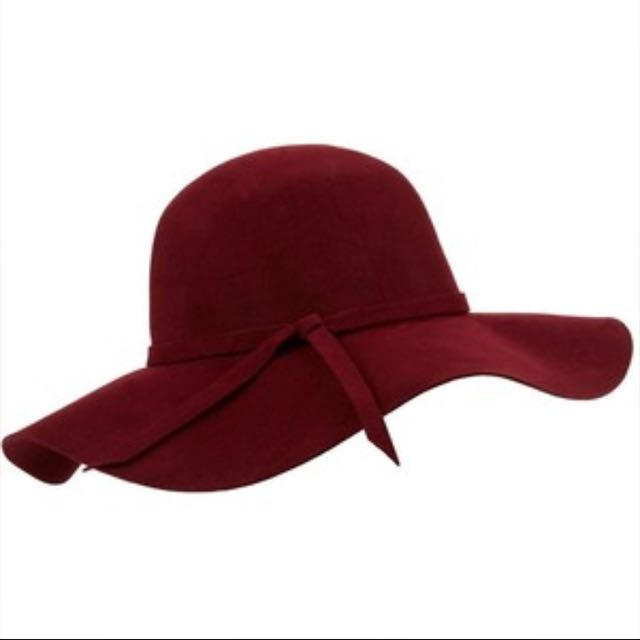 Wine Red Floppy Hat