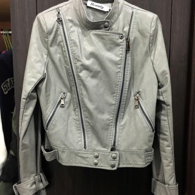 騎士風x立領x灰色短版皮外套