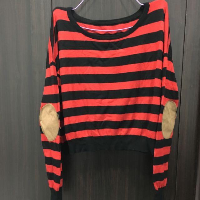 黑+紅x手肘補丁x短版針織衫