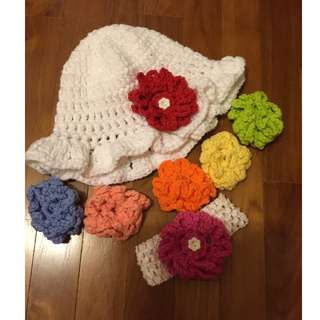 Price Reduced Hand Made Crocheted Sun Hat / Bonnet, headband and 7 interchangable flowers