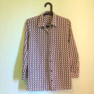 Zara Style Blouse With Pattern Size S-M