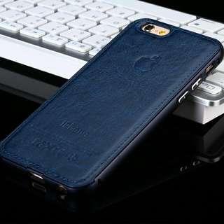 Leather Metal Bumper Case - Dark Blue