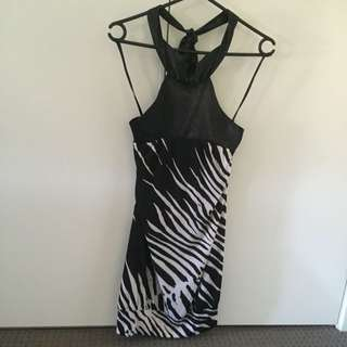 Leopard Neck Tie Dress