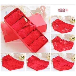 •現貨•棉質大紅內褲蕾絲蝴蝶結女內褲5件禮盒裝