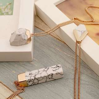 PO // Marble Rectangle Necklace