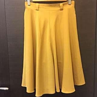 Starmimi鵝黃色荷葉裙