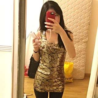 Gold Sequinned Party Top/Dress