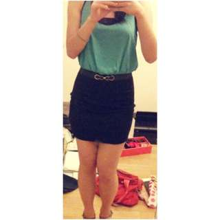 Forever21 Turquoise/Black Party Dress