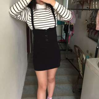 復古 吊帶裙 高腰裙