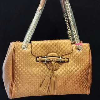 GUCCI Leather Shoulder Shopping Bag
