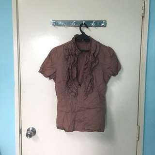 Forever 21 Brown Blouse With Ruffled Front