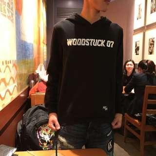 Woodstock 帽T 反光 銀色字母 內刷毛 M號 全新 現貨兩件