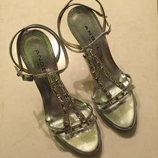 Angel銀色高跟涼鞋