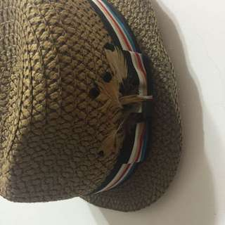日本帶回 民族風隨性鐵絲帽緣羽毛編織草帽
