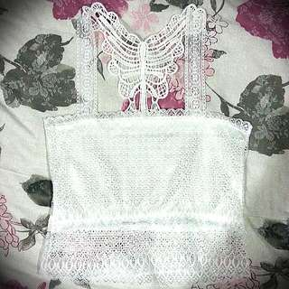 White Lace Cropped Camisole