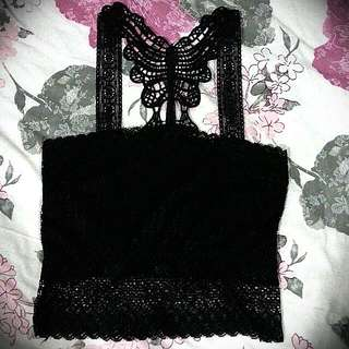 Black Lace Cropped Camisole