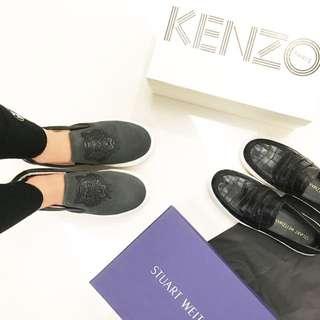 KENZO 皮雕虎頭麂皮質感平底鞋