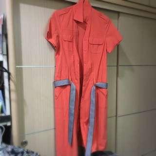 亮橘長洋裝,可當外套(500含運)