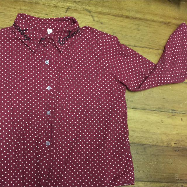 二手》韓系短版點點紅襯衫