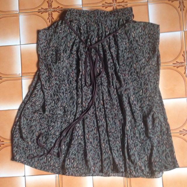 軍綠豹紋大口袋垂墜紗裙