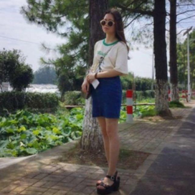韓國 牛仔短裙 韓妞必備