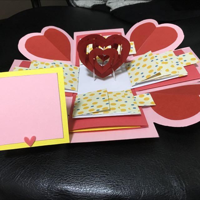 禮物卡片盒 爆炸卡 手工卡片 鏤空愛心 情人節 生日卡片