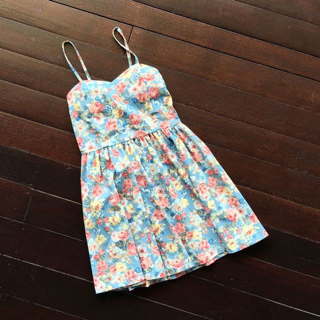 RESERVED Blue Floral Spaghetti Dress
