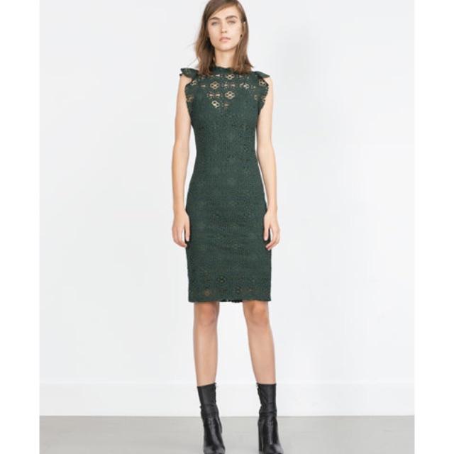 3390f403ad BNWT Zara Long Tube Dress~ Colour Green