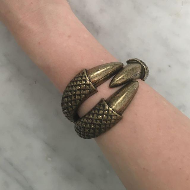 Bronze Hinged Claw Bracelet