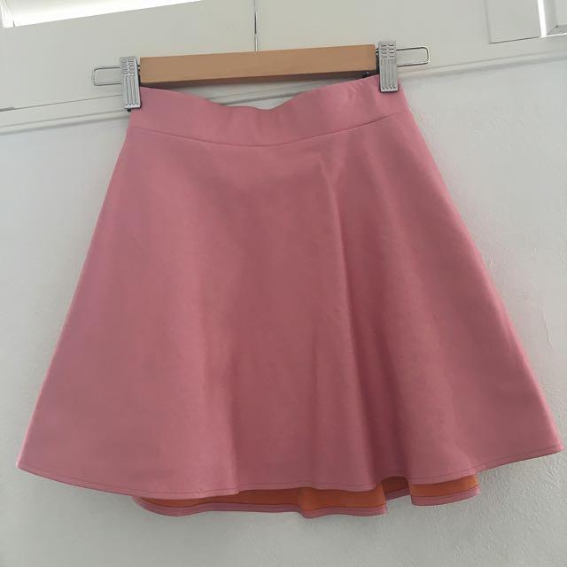 Bubblegum Pink Pleather Skater Skirt