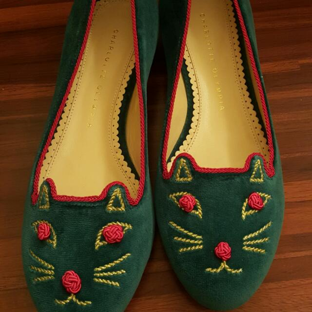 Charlotte Olympia 綠色絨貓咪鞋