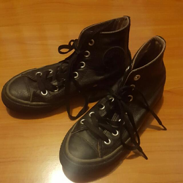 Converse Black Leather High Tops