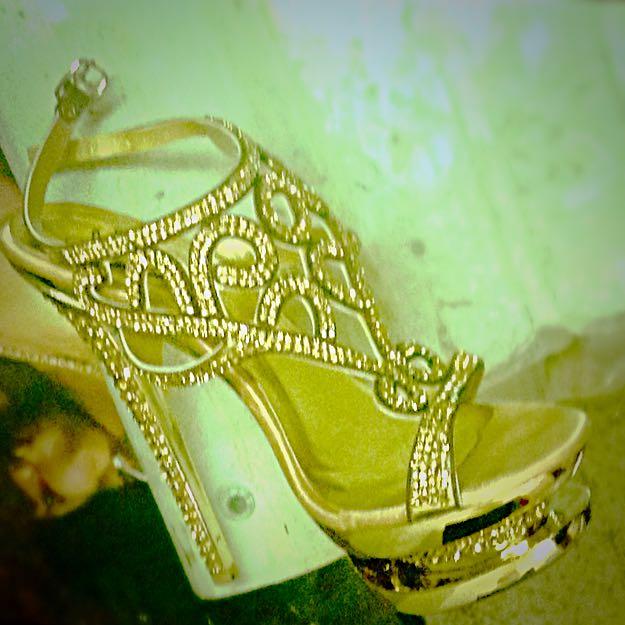 Gold, Rhinestone, Cutout, Size 6, Elegant, Stiletto Platform High Heels