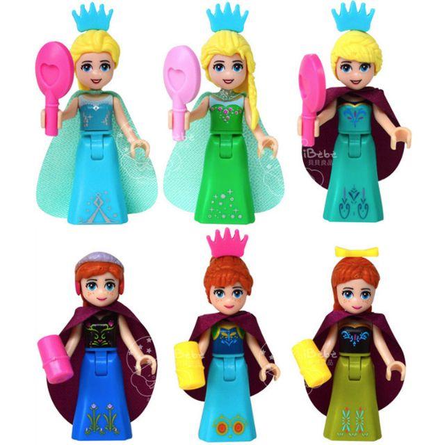 iBebe*現貨$190 冰雪奇緣FROZEN 艾莎與安娜 樂高積木人偶/一套六款不拆售/迪士尼/可相容LEGO