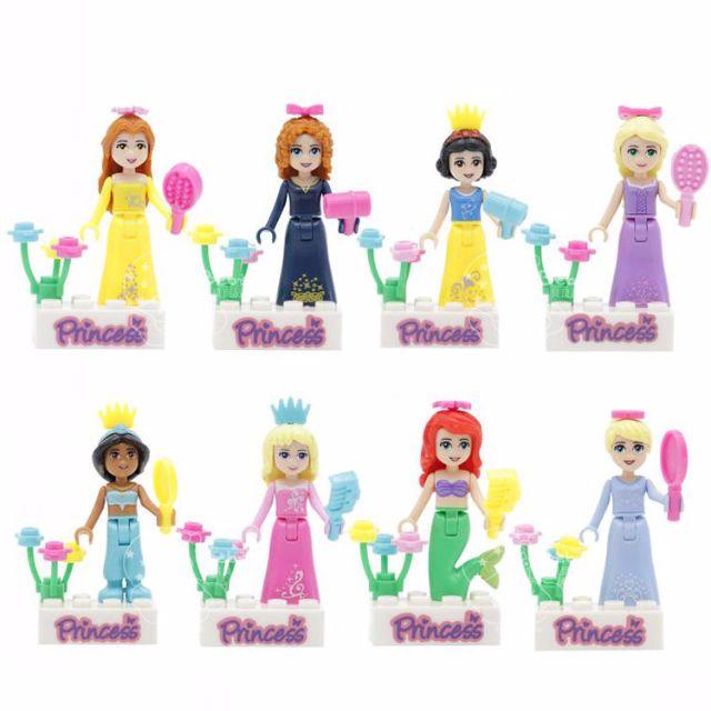 iBebe*現貨$249 迪士尼公主系列 樂高積木人偶/一套八款不拆售/Disney/可相容LEGO