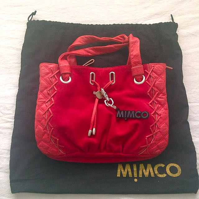 MIMCO quilted red handbag with keychain