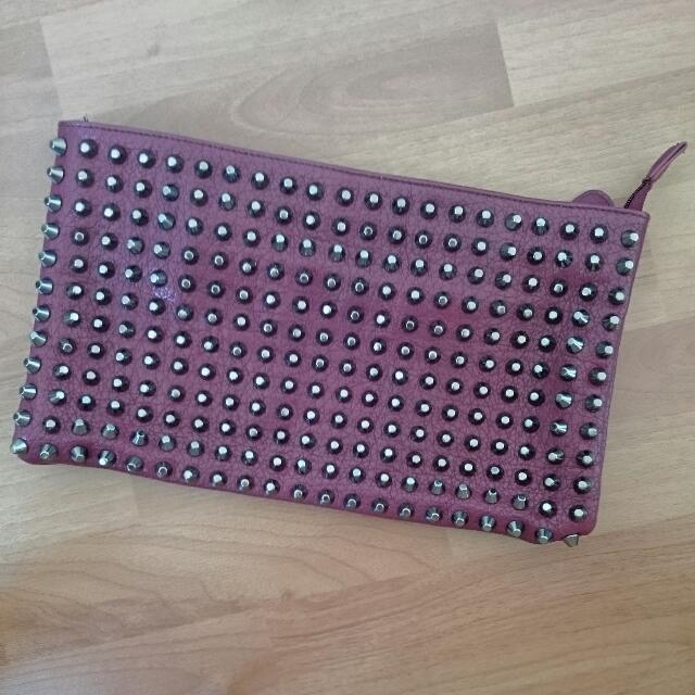 SPORTSGIRL Wine Red Studded Clutch