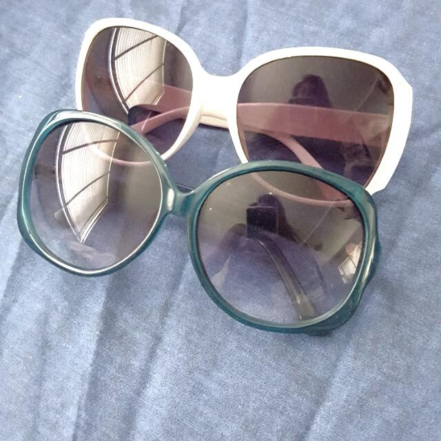 White Rim And Teal Rim Sunglasses Ladies