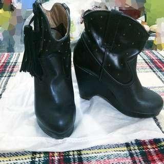 流蘇黑色platform shoes
