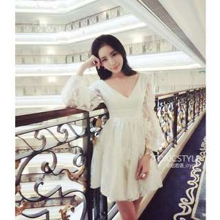 現貨_Queenia💖春夏新款歐根紗繡花連衣裙(單色白色)