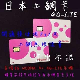 8天吃到飽 DOCOMO 日本上網卡 4G-LTE 訊號 後3G無限吃到飽 比富士卡優