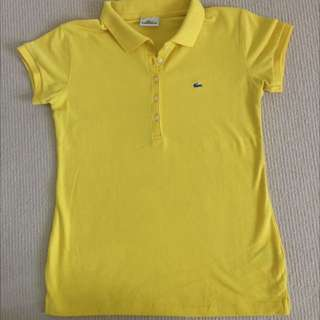 Yellow 5 Buttons Lacoste Polo Shirt