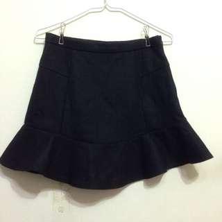 韓製黑色毛呢魚尾短裙