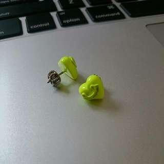 JUICY COUTURE neon Yellow Heart Stud Earrings