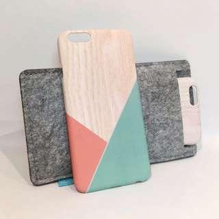 iPhone 6/6s 手機殼 木紋拼接色塊 質感 硬殼