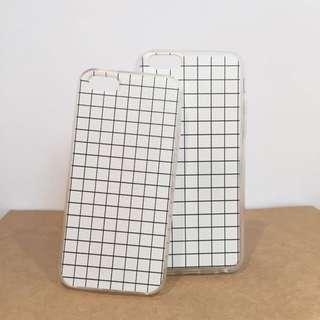 iPhone 5s/6/6s 手機殼 白線條格紋 軟殼
