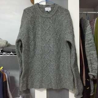 厚磅灰毛衣