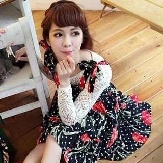韓國  林鴒款肩部綁結印花洋裝